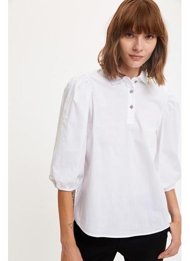 DeFacto Uzun Balon Büzgülü Kollu Gömlek Beyaz